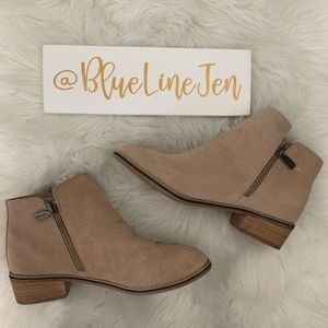 Linda Waterproof Suede Booties Sand Color NWOT